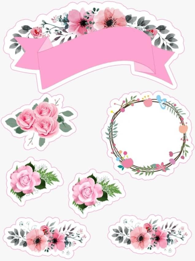 topo de bolo feminino com flores para personalizar e imprimir