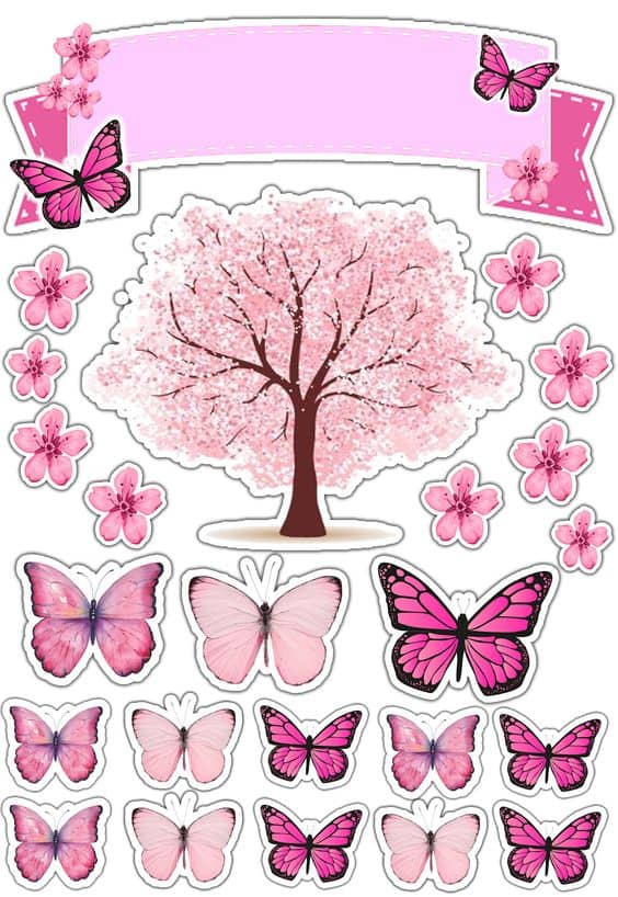 topo de bolo feminino com borboletas para imprimir