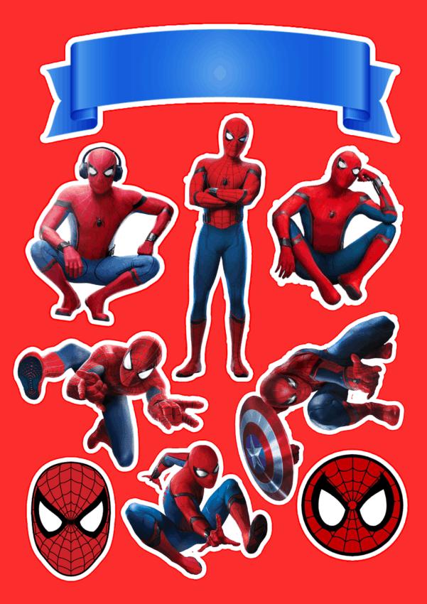 topo de bolo do Homem Aranha para personalizar e imprimir