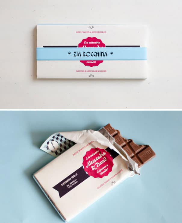 A embalagem da barra de chocolate e um lindo convite tematico