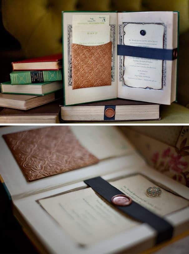 Convite de casamento diferente em formato de livro