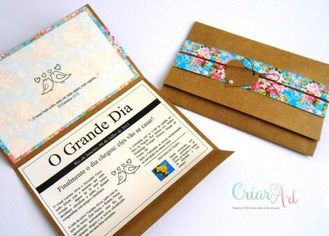 O papel cartao e a base perfeita para convites rusticos