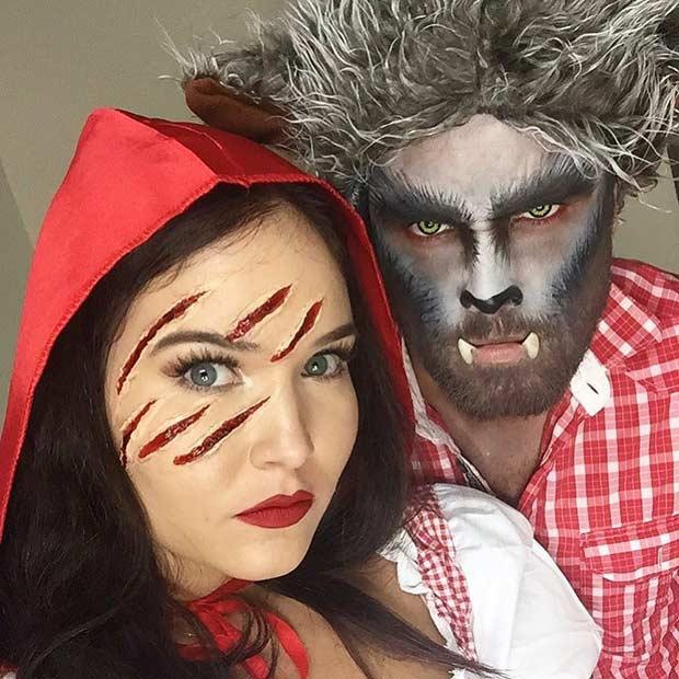 fantasia de casal com maquiagem especial de lobo mau e chapeuzinho