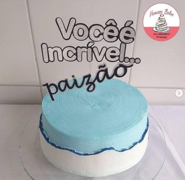 bolo azul com topo paizao