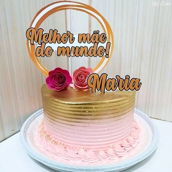 bolo rosa e dourado com topo melhor mae do mundo