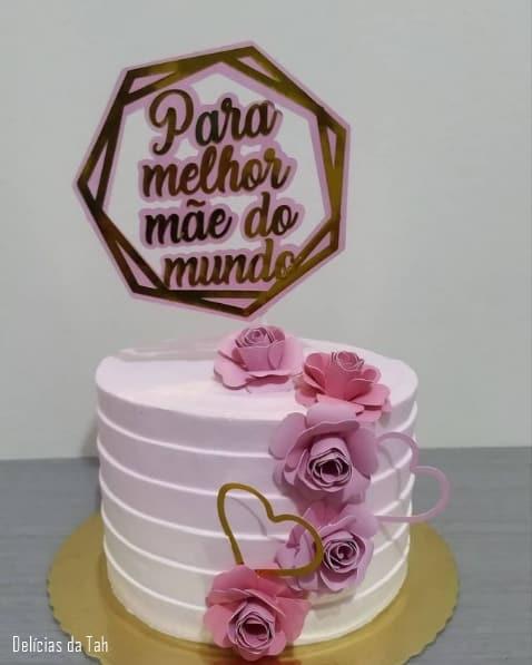bolo degrade rosa com topo melhor mae do mundo