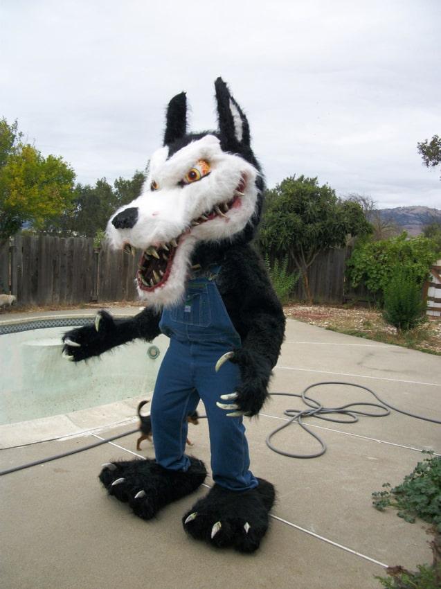 fantasia de Halloween de lobo mau