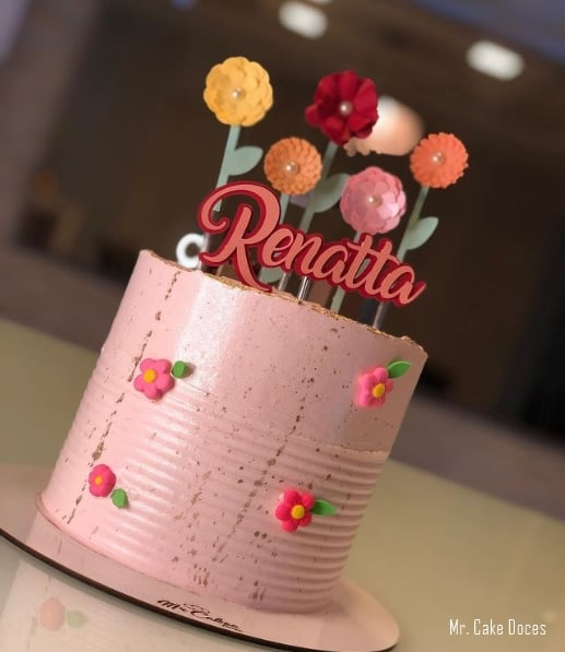 bolo personalizado com topo para dia das maes