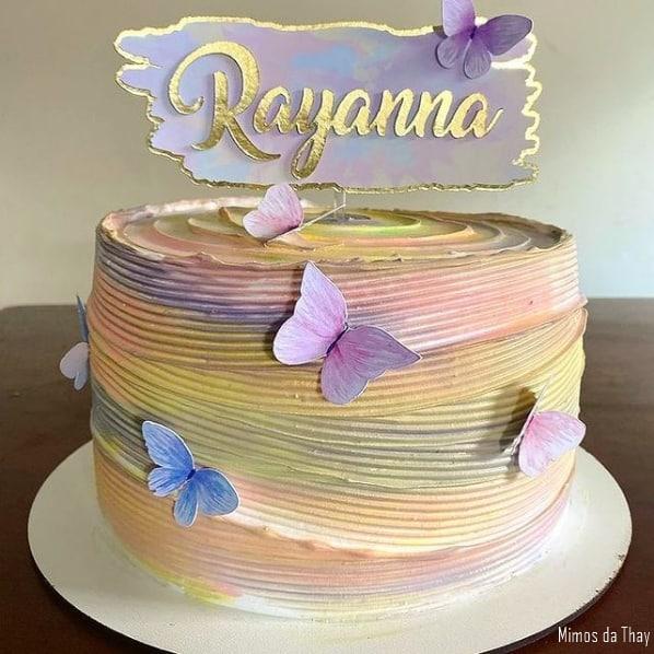 topo de bolo tie dye em tons pasteis e personalizado