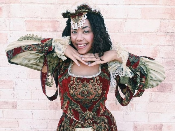 fantasia de rainha medieval com vestido de manga longa