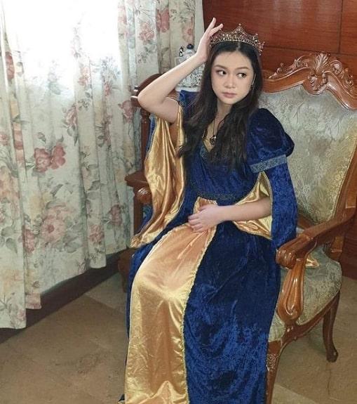 fantasia de rainha medieval com vestido longo