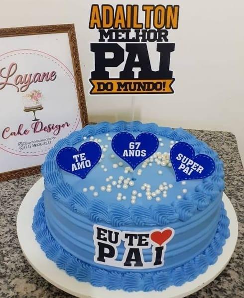 bolo azul com topo personalizado de melhor pai do mundo