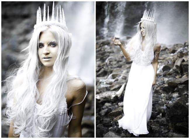 fantasia de rainha do gelo com vestido branco