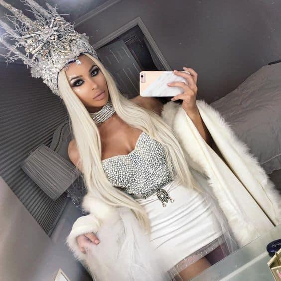 fantasia para rainha do gelo com saia branca