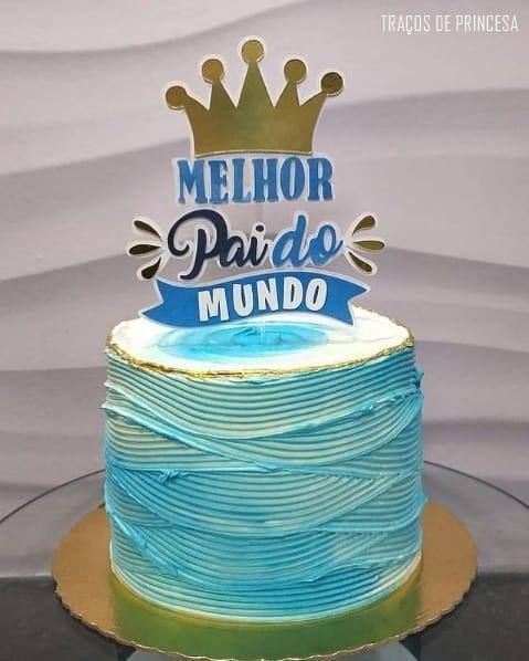 bolo azul com topo melhor pai do mundo