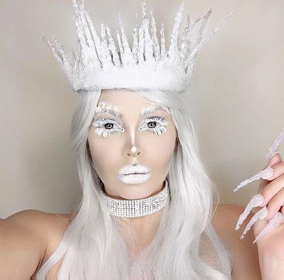 maquiagem especial para fantasia de rainha do gelo