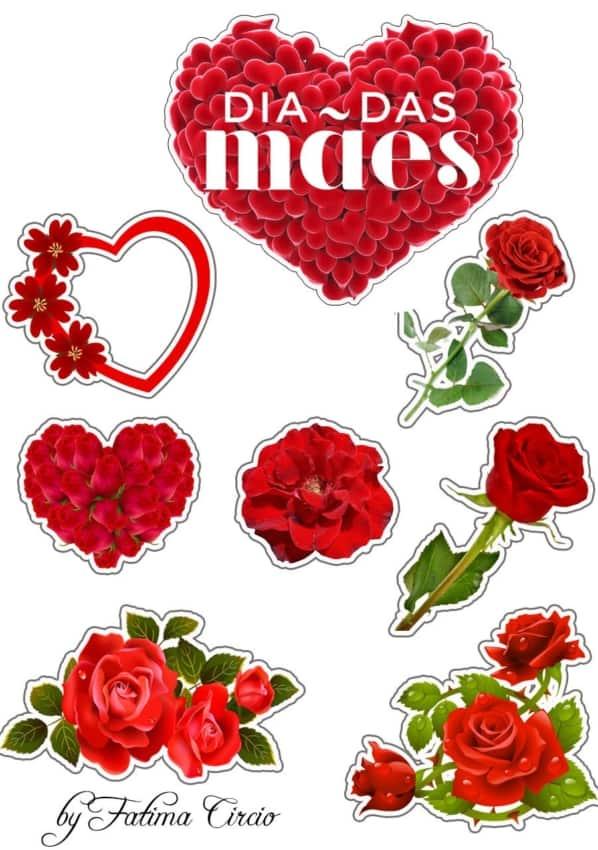 topo de bolo dia das maes com rosas vermelhas para imprimir