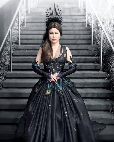 fantasia de rainha ma com vestido longo