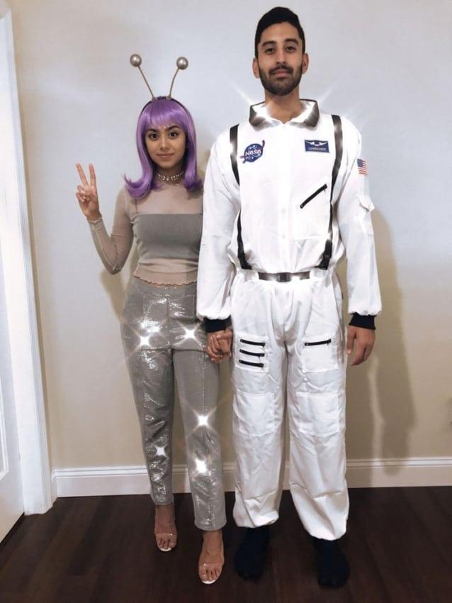 fantasia de casal com macacao astronauta