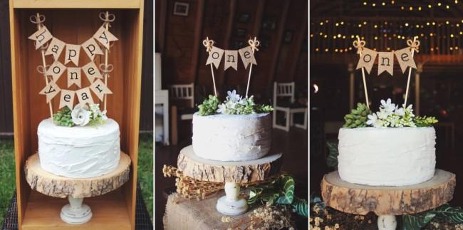 bolo bodas de papel com bandeirinhas e prato rustico