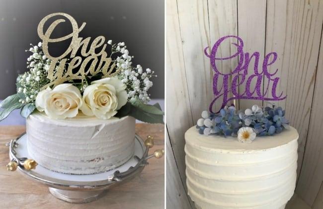 bolo com topo one year e flores