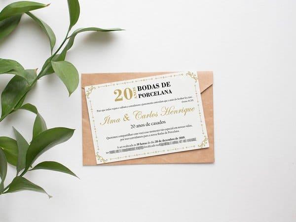 modelo de convite classico para bodas de porcelana