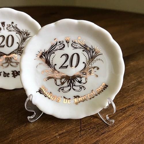 mini prato decorado para lembrancinha de bodas de porcelana