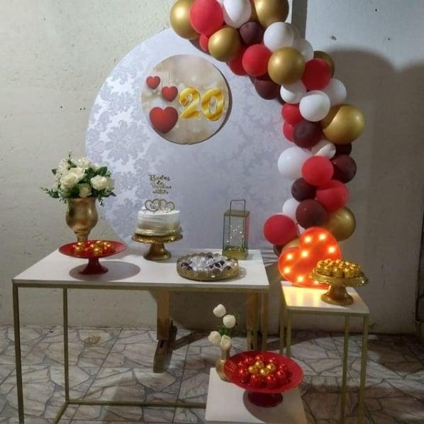 decoracao de festa simples para bodas de porcelana