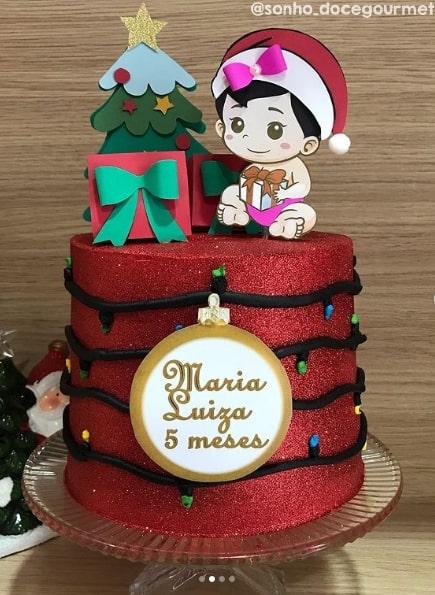 bolo de mesversario com topo de natal personalizado