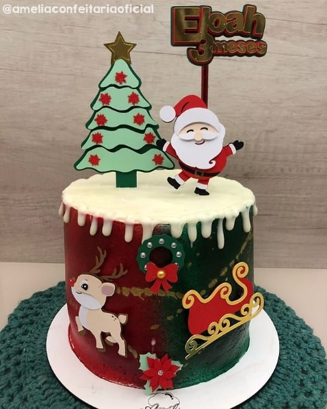topo de bolo de mesversario com tematica de natal