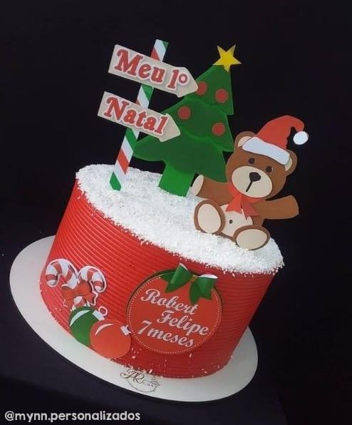 bolo de mesversario com decoracao de natal