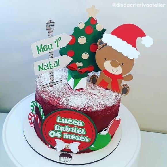 bolo com topo de mesversario natalino