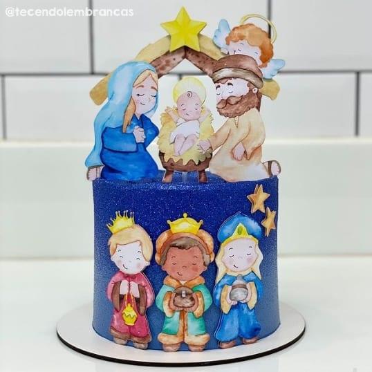 bolo com topo de natal com tematica de presepio