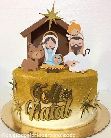 topper de bolo com personagens do presepio