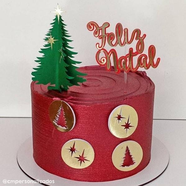bolo natalino com topo tematico de arvore de natal