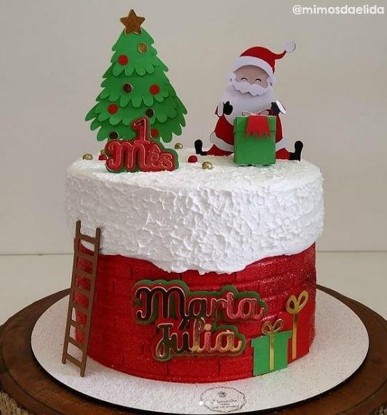 decoracao de topo de bolo com pinheiro natalino
