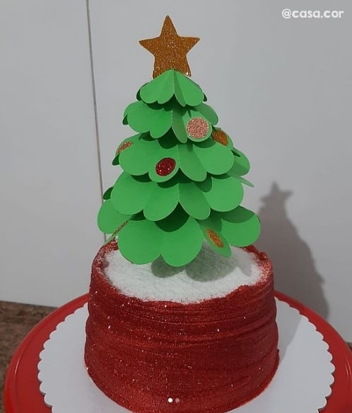topo de bolo 3D com tema natalino