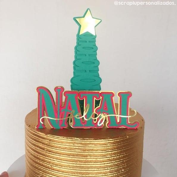 topo de bolo criativo de pinheiro de natal