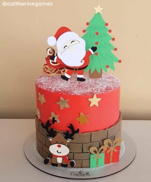 bolo natalino com topo de papel