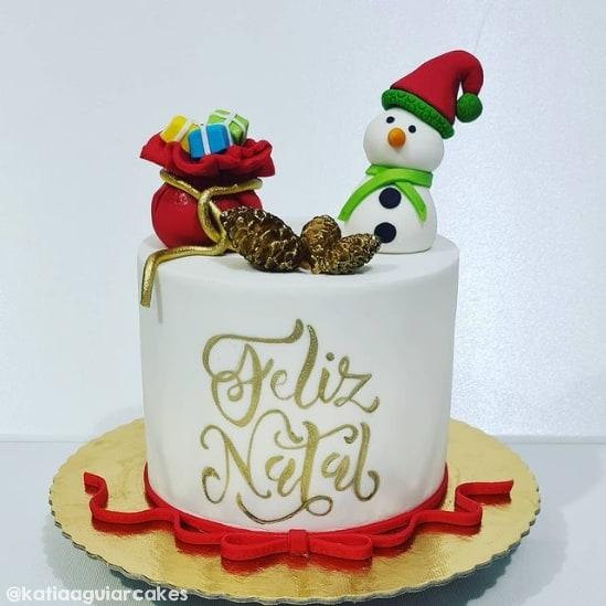 decoracao de bolo com topo natalino