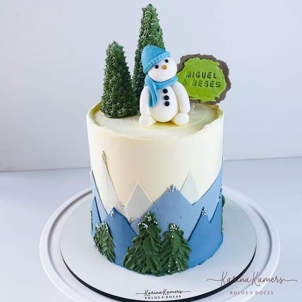 bolo de mesversario com tematica de natal e boneco de neve