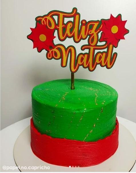 topper de feliz natal para decorar bolo